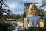 An image of a young boy with long, fair hair inset over an image of a waterfall.