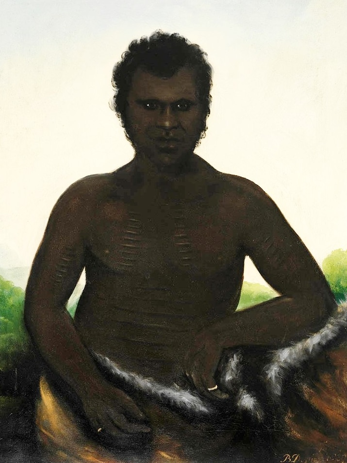 A painting of Derrimut, who is wearing a ring on each hand and a possum-skin cloak.