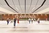 A drawing of people with bags at a proposed Terminal Two arrivals hall.