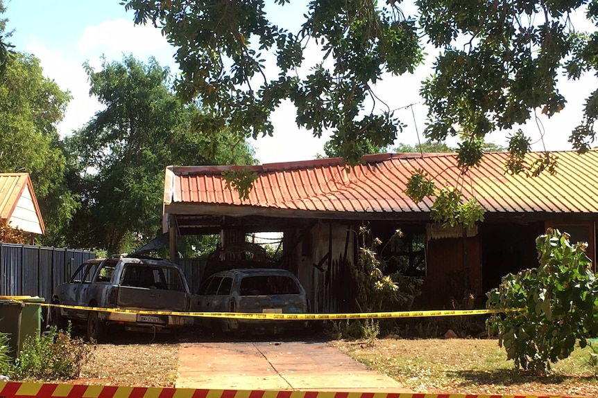 A house and two cars in Broome were destroyed by fire after an alleged neighbourly dispute.