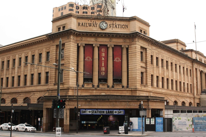The Adelaide railway station and Adelaide Casino on North Terrace
