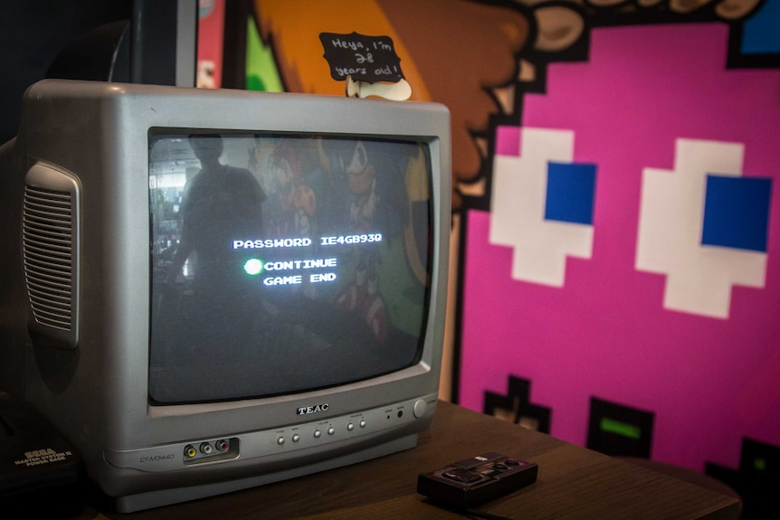 Games are played on older-style CRT TVs at Nostalgia Box.
