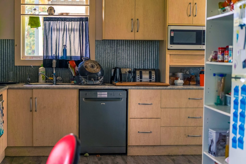 Washed dishes dry on a kitchen sink surrounded by  appliances in a wooden kitchen unit.