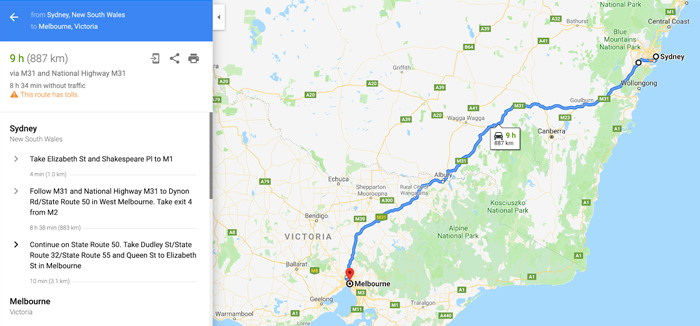 Screenshot of a google maps route from Sydney to Melbourne