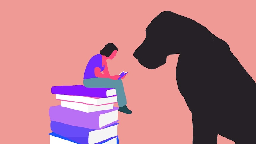 An illustration of a reader with a big black dog looking on for a story about books about depression