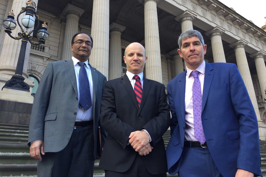 Dr Mukesh Haikerwal, Dr Stephen Parnis, and Dr Mark Yates (left to right) stand outside Parliament in Melbourne.