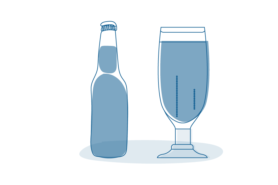 Illustration of a beer bottle and glass.