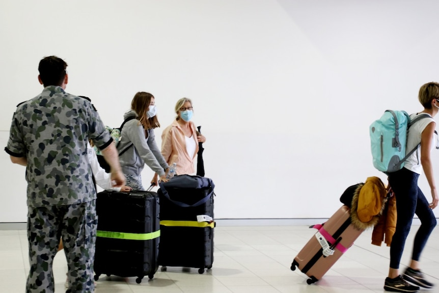 A group of passengers with suitcases and masks stand near a border official.