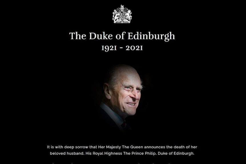 A black screen announcing the death of Prince Philip.