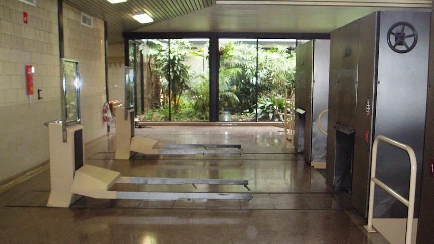 Inside the Centennial Park crematorium.