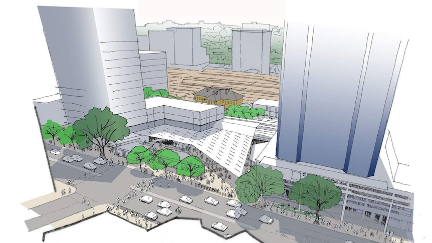 A sketch of the new-look Brisbane Transit Centre incorporating the BaT tunnel.