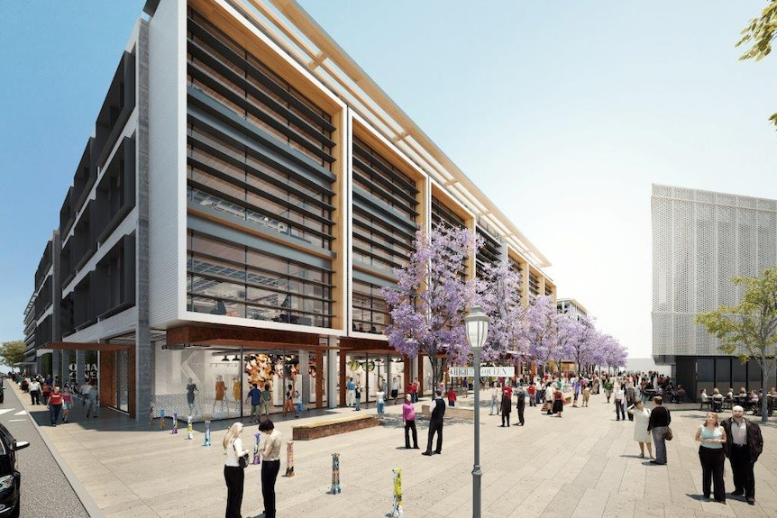 Artist's impression of a modern multi-storey building and streetscape.