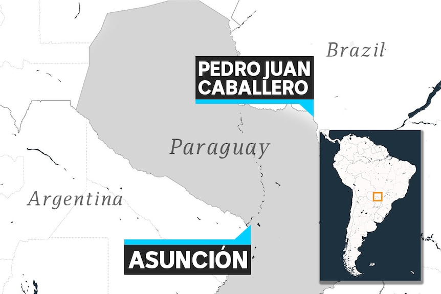 A map of Paraguay is shown showing the border city of Pedro Juan Caballeo in relation to the capital, Asuncion.