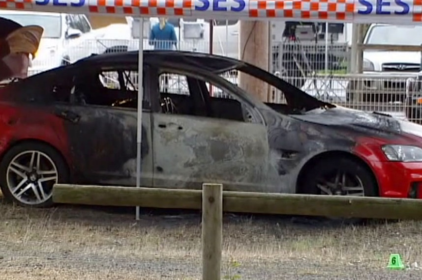 Burnt out car where body was found at Eumemmering