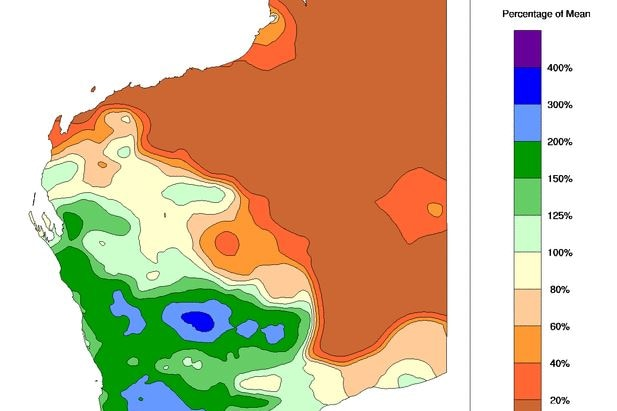 A colour map of rainfall percentages for WA for the month of July 2021.