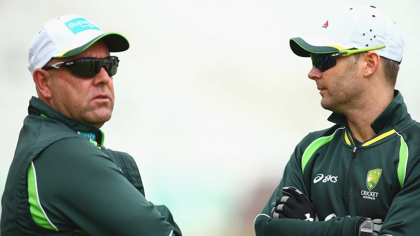 Backs to the wall ... Australia coach Darren Lehmann (L) speaks with captain Michael Clarke during a nets session ahead at Trent Bridge