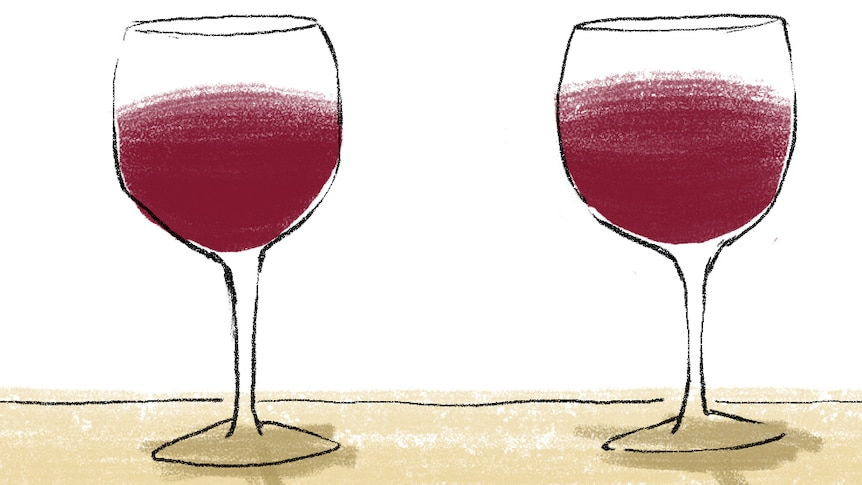 A cartoon showing two glasses of red wine.