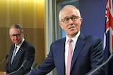 David Gonski, Malcolm Turnbull and Simon Birmingham speak to the media.