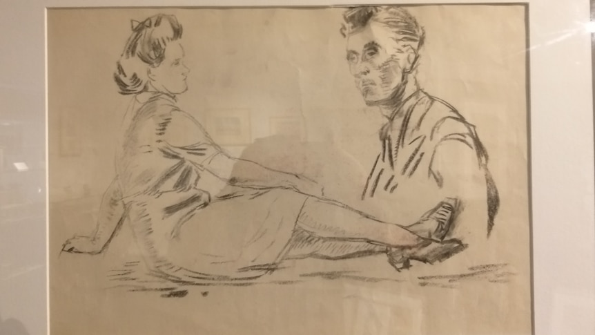 A sketch of a woman and man