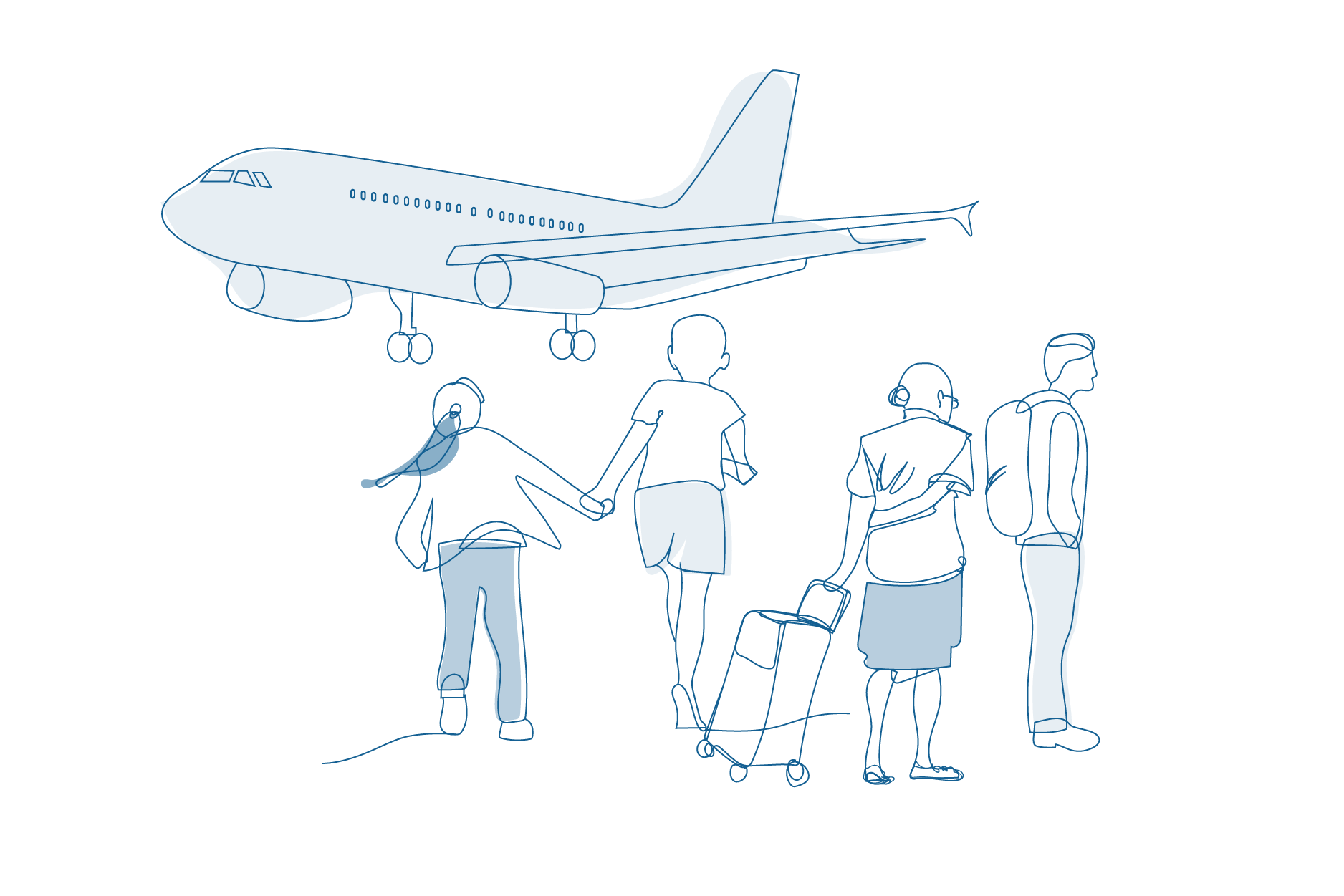 Line drawing of people waiting for aeroplane.