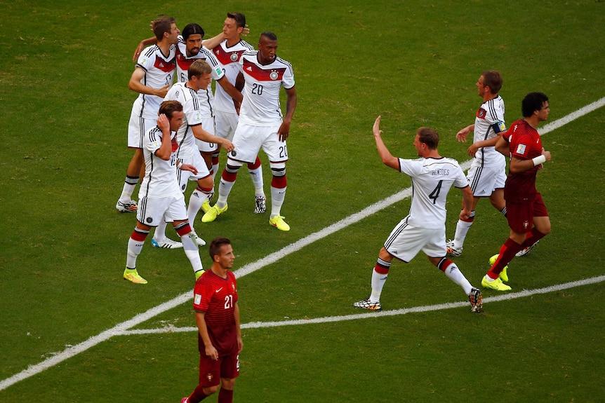 Germany celebrates a Thomas Mueller goal