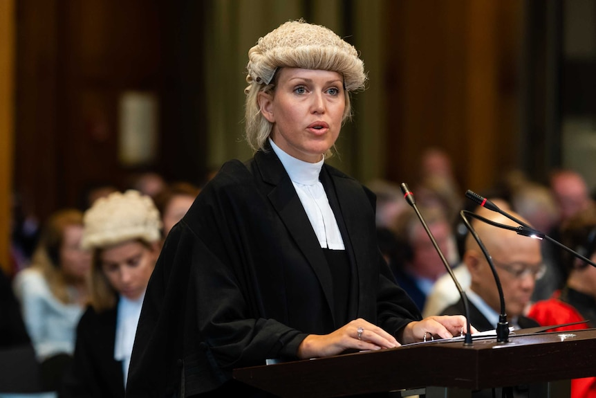 A female lawyer in a barrister's wig and gown stands in front of several microphones