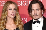 Amber Heard and Johnny Depp pose into front of a logo wall on a red carpet event, both in formal wear.