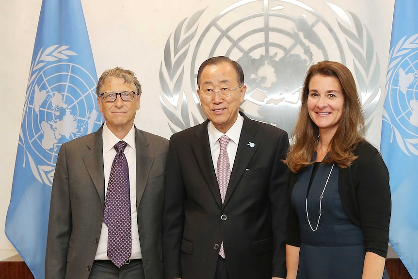 Bill and Melinda Gates with United Nations secretary-general Ban Ki-moon (centre)