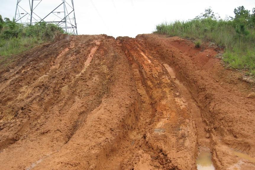 Track impassable for logging trucks.