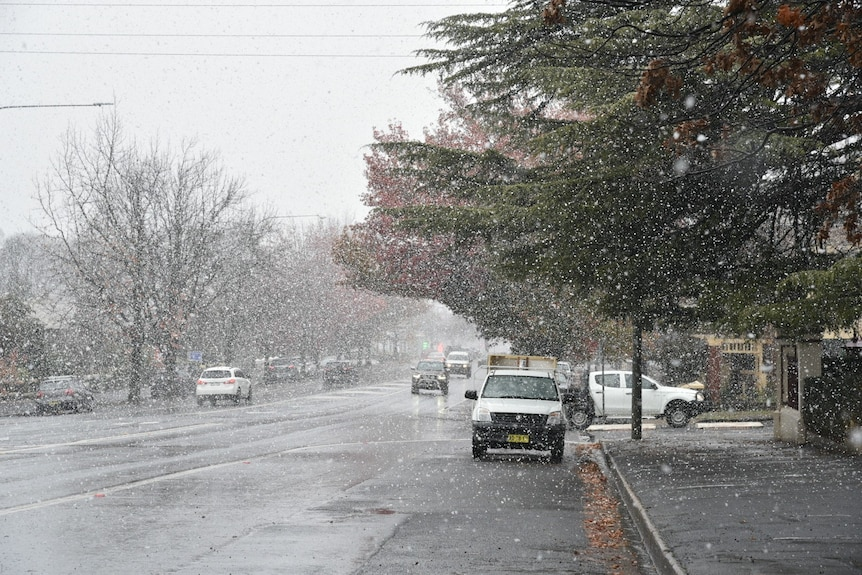 town streets covered in snow