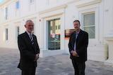 Launceston mayor Albert van Zetten and the council's infrastructure general manager Shane Eberhardt in front of Town Hall