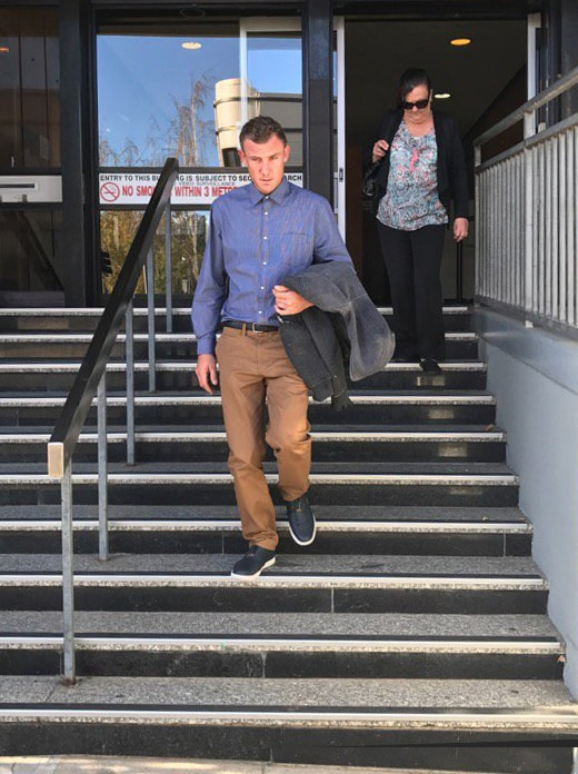 Shayd Hector leaves Launceston court after sentencing for 2013 ultralight crash.