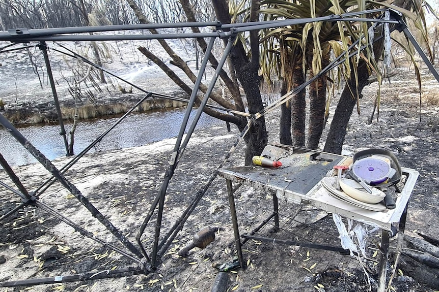 A burnt-out camp site on Fraser Island