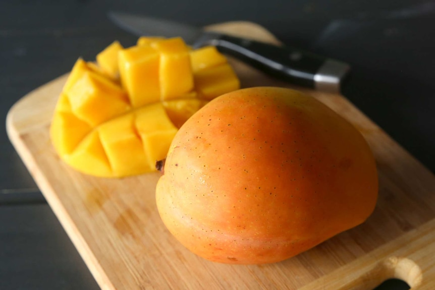 A large kensington pride mango sits on wooden cutting board beside a mango cheek cut into squares and a knife