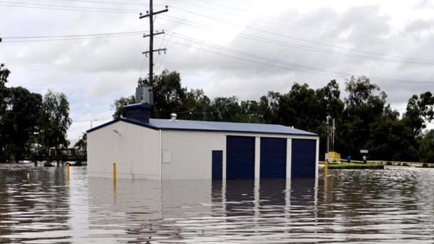 Floodwaters fill the RSL carpark in the town of Dalby