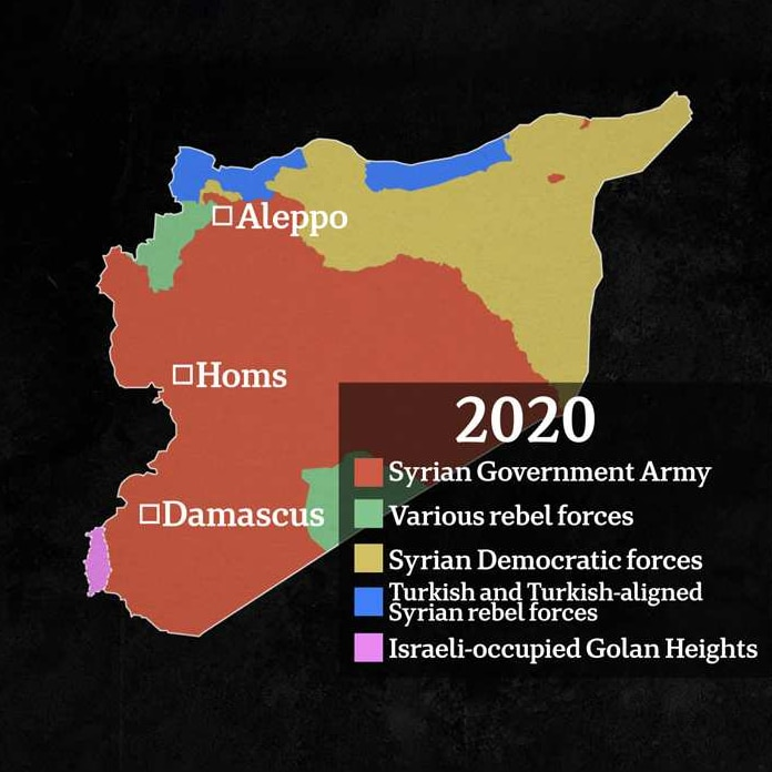 A Syrian map shows the majority of the country's centre and south-west shaded in orange, representing Government control.