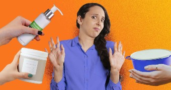 Woman throwing her hands up at products