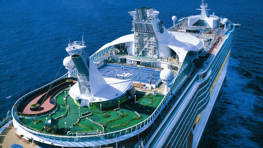 Birds eye view picture of the cruise liner Explorer of the Seas.