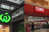 A Woolworths sign next to a Coles sign outside the shops