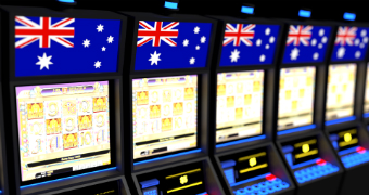 A row of poker machines with Australian flags superimposed on top.