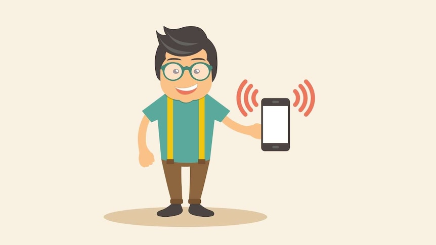 Illustration of a man holding mobile phone.