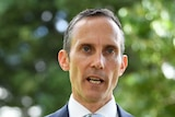 Shadow Assistant Treasurer Andrew Leigh speaks to the media outside