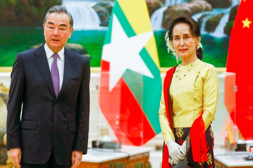 Aung San Suu Kyi with white flowers in her hair standing next to Wang Yi