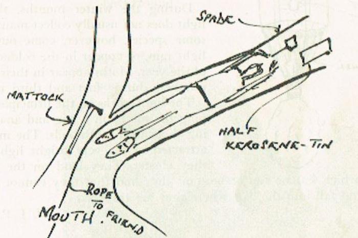Schoolboy Peter Nicholson draws himself exploring a burrow