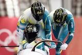 Australia's men's bobsleigh team in action