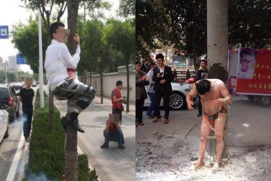 Two men are taped to trees and doused in food.