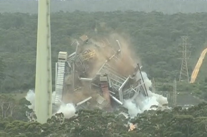 The Alcoa power station is shown collapsing.