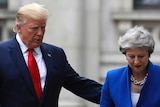 Trump walks in a suit wearing a red tie with his hand on Theresa May's back, she's wearing blue.