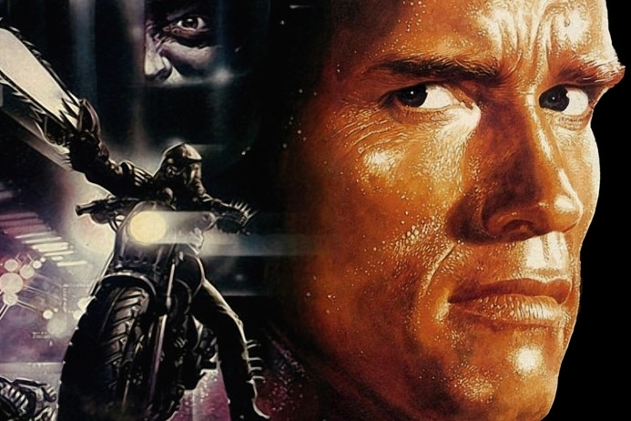 The movie poster for The Running Man, featuring Arnold Schwartzenegger.