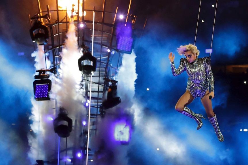 Lady Gaga performs during the Super Bowl halftime show